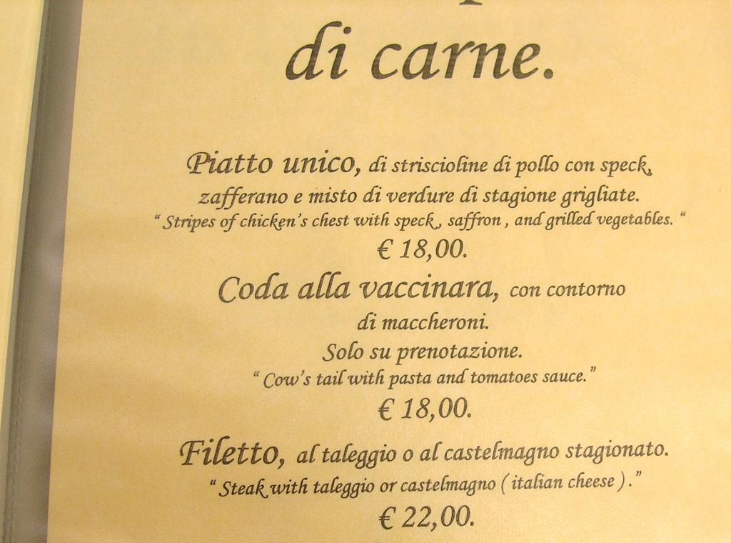 Funny menus, Lucca, Italy