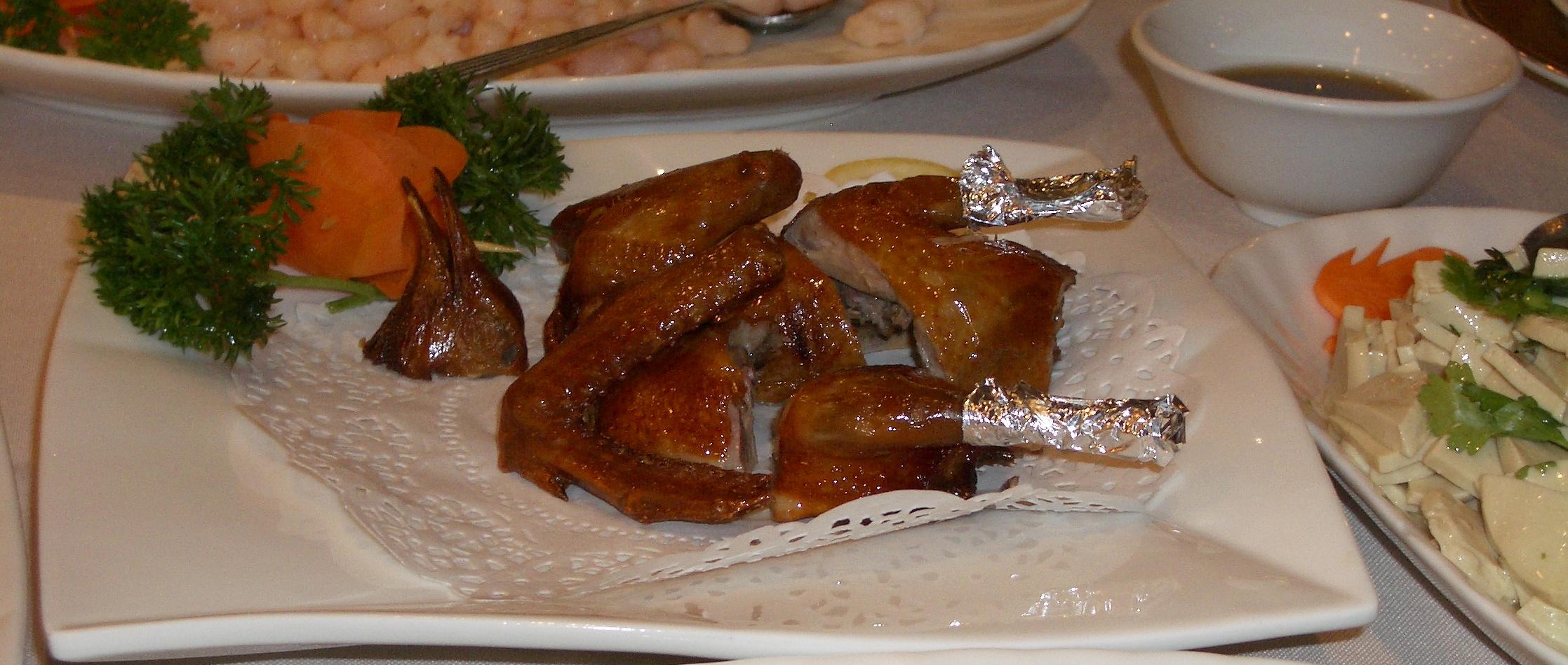 Appetizing duck dinner in Beijing