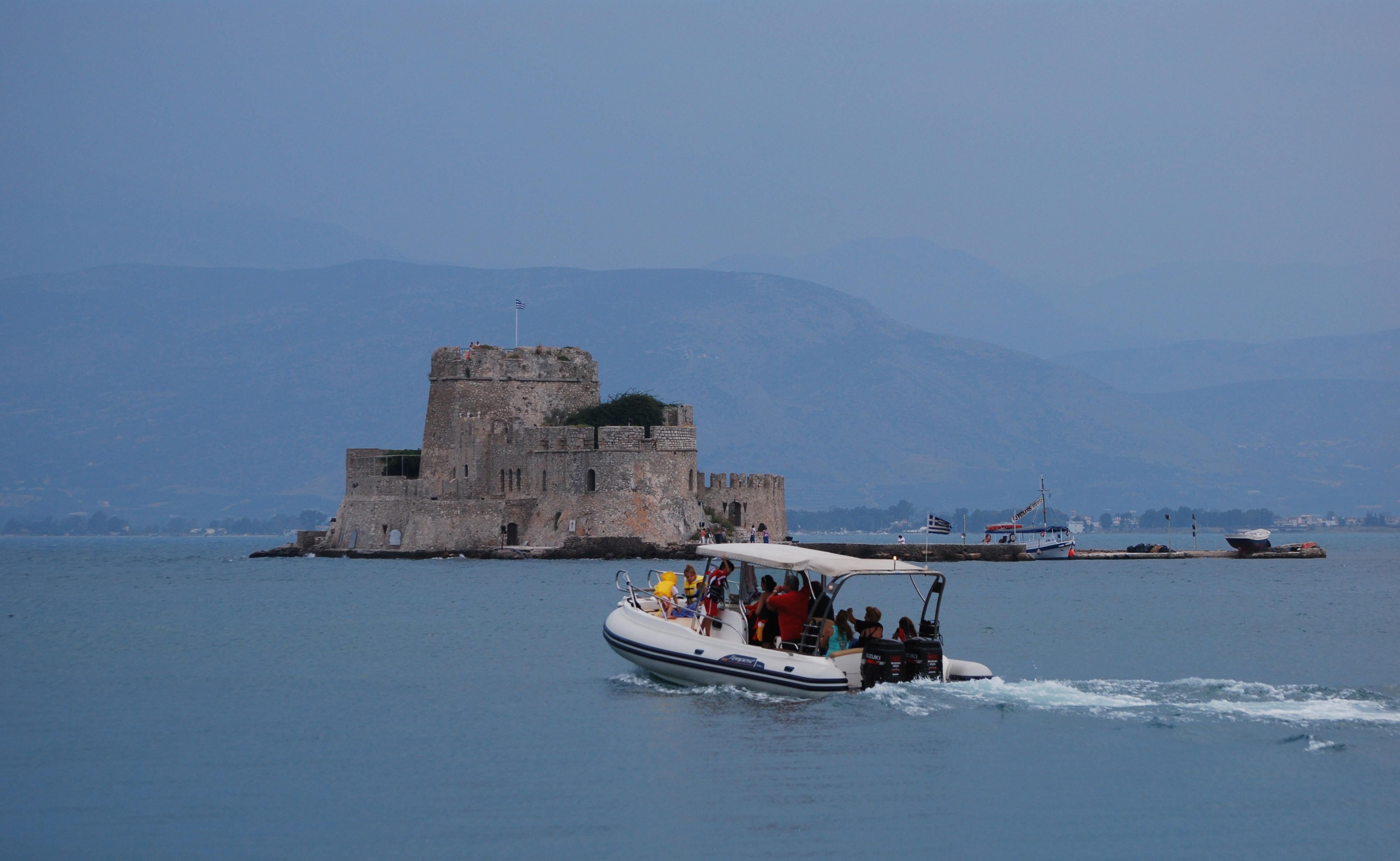 Bourtzi Fortress viewed from harbor walk in Nafplion