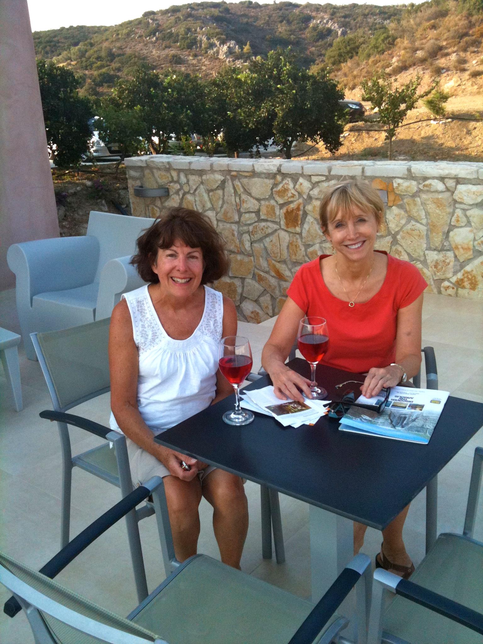 two women having dinner at the Hotel Perivoli, Greece