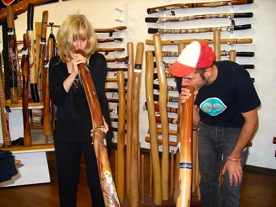 blonde with digeridoo in Freemantle Australia