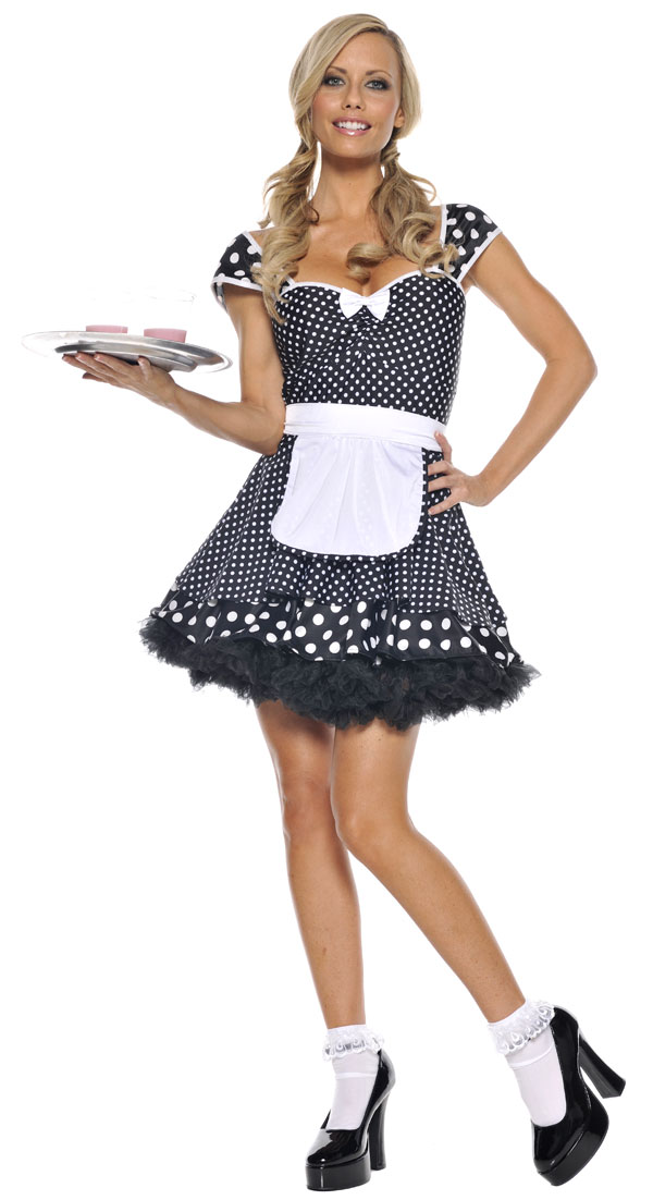 Woman in 50s waitress costume