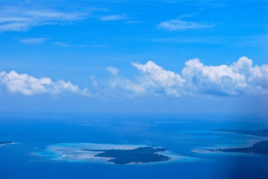 Islands in the Java Sea as seen from an airplane