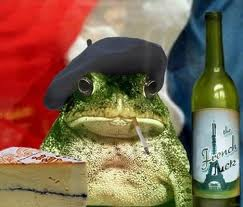 image of frog and wine bottle