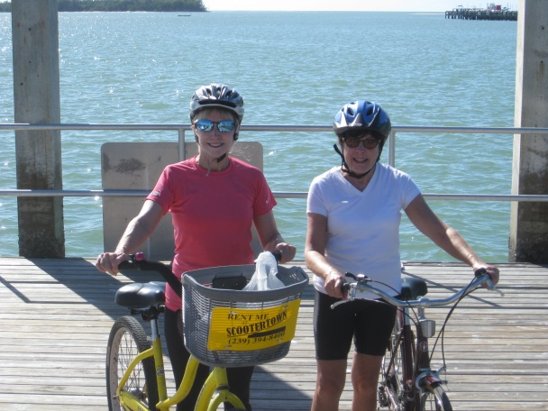 Two women on bicycles in Florida