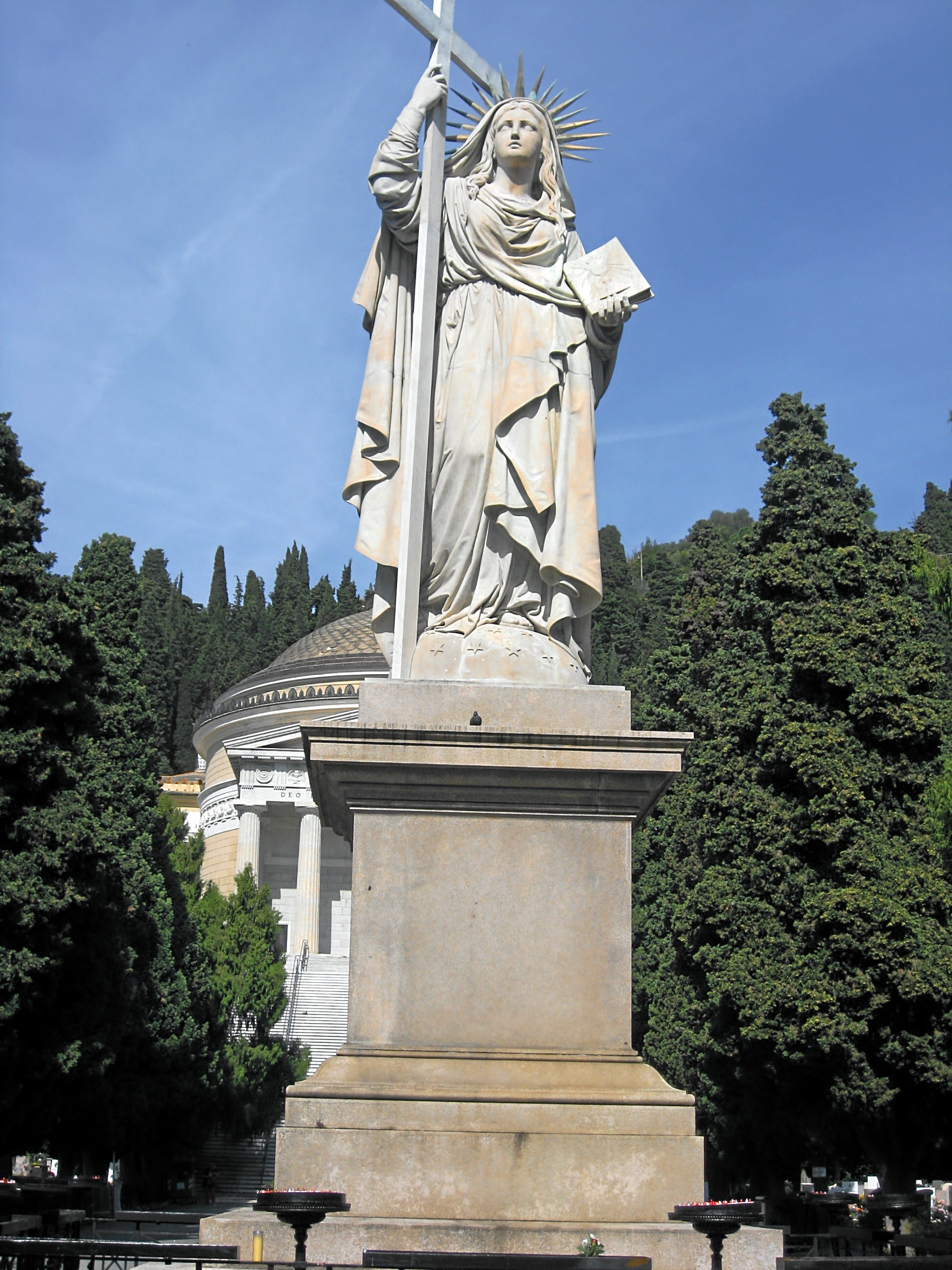 statue of Faith in Cemetery of Staglieno, sculpted by Santo Varni