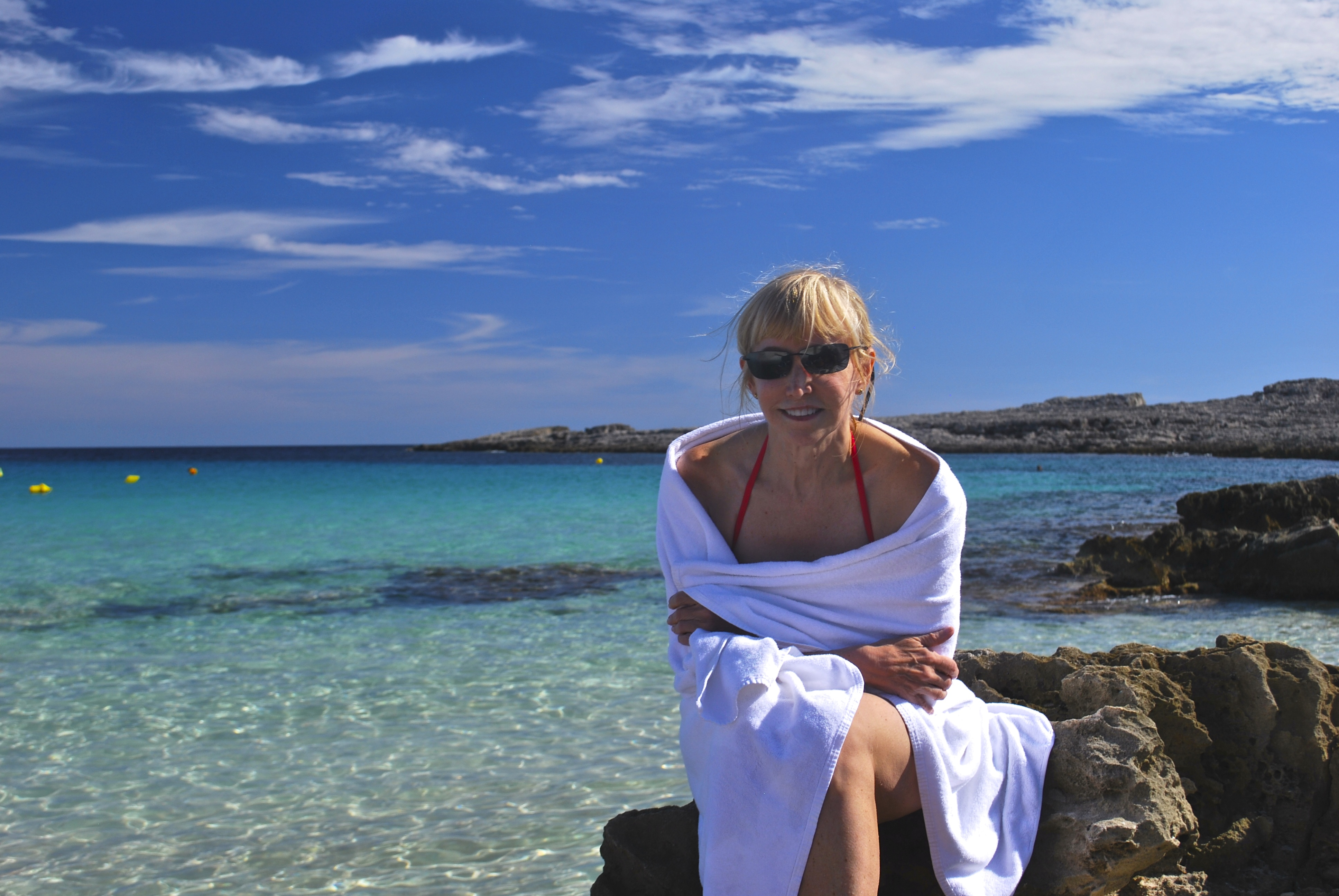 Blonde woman at Cala de Binibeca