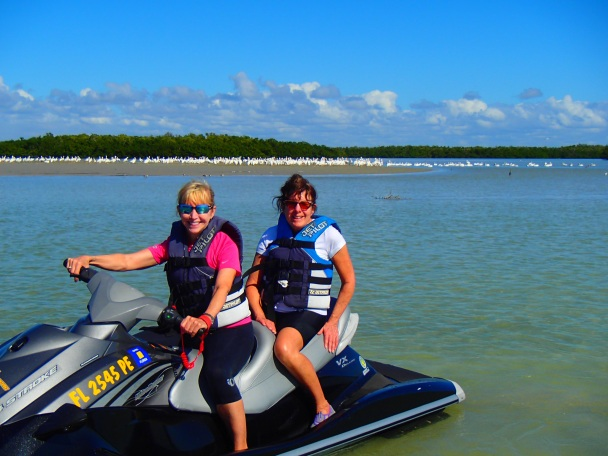 Two women on a jet ski in Florida