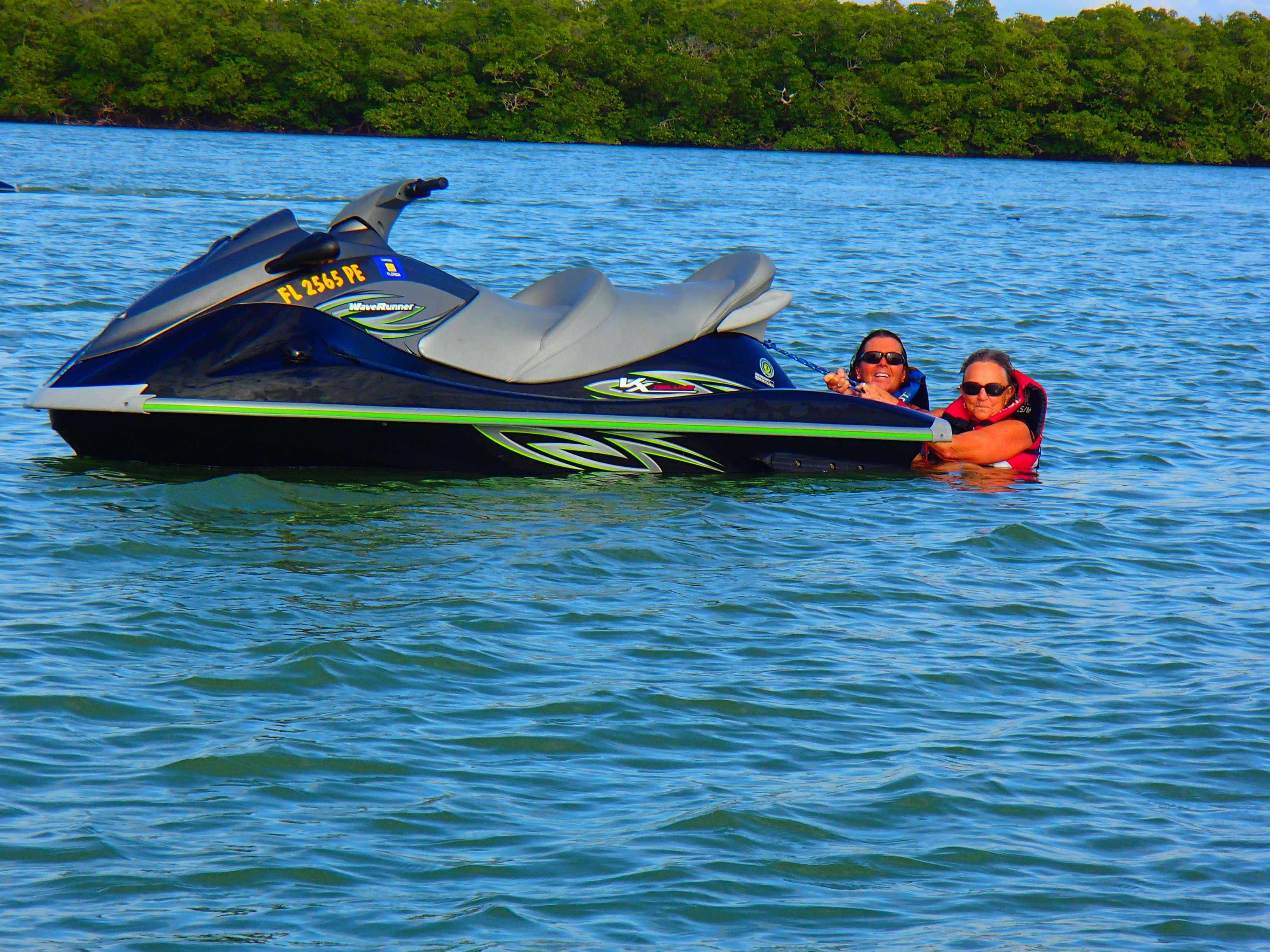 Two women who fell of a jet ski