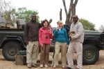 A guide, two women and a tracker out in South Africa