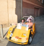two women in a small clown car in Barcleona Spain