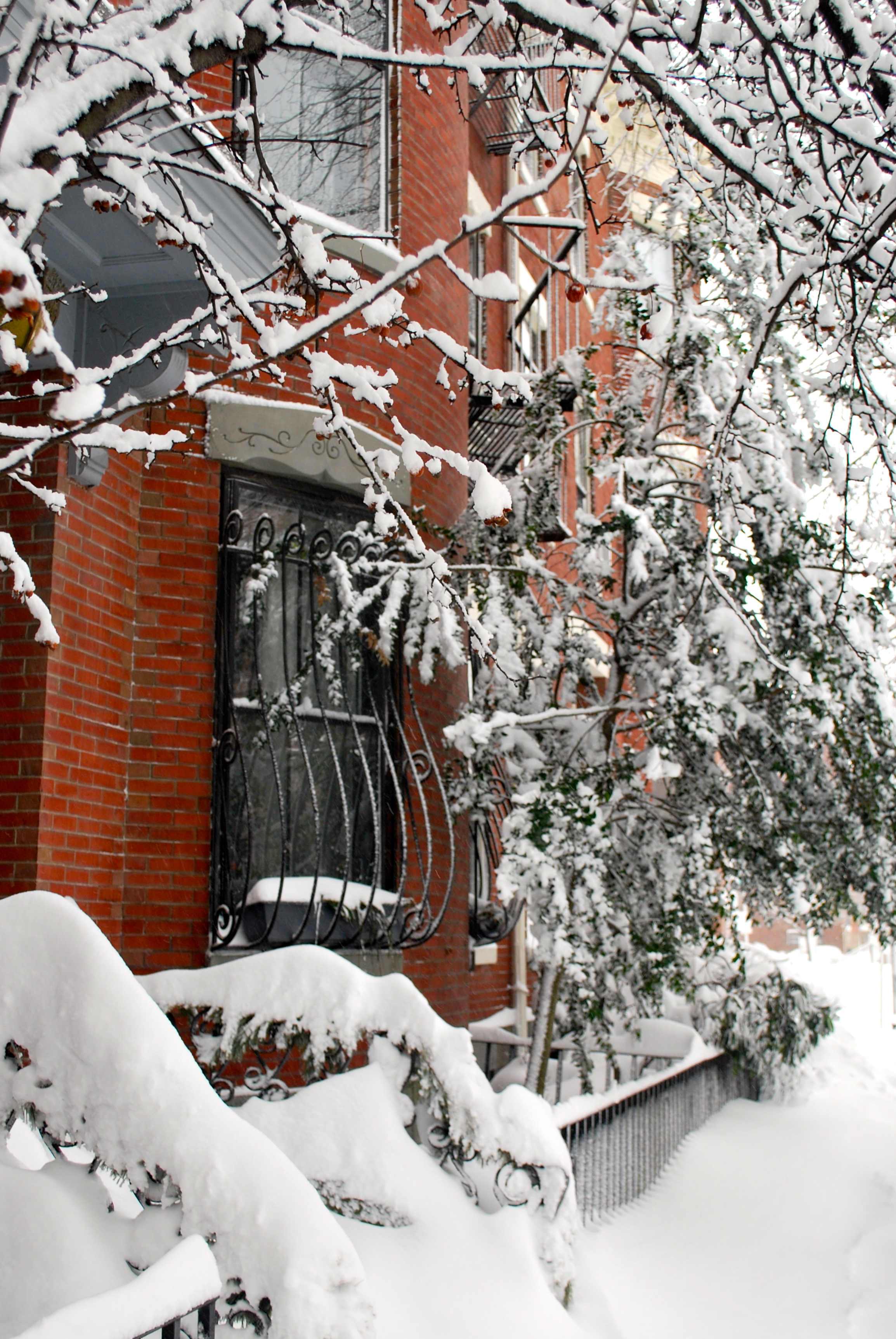 Brownstone home covered in snow in Boston