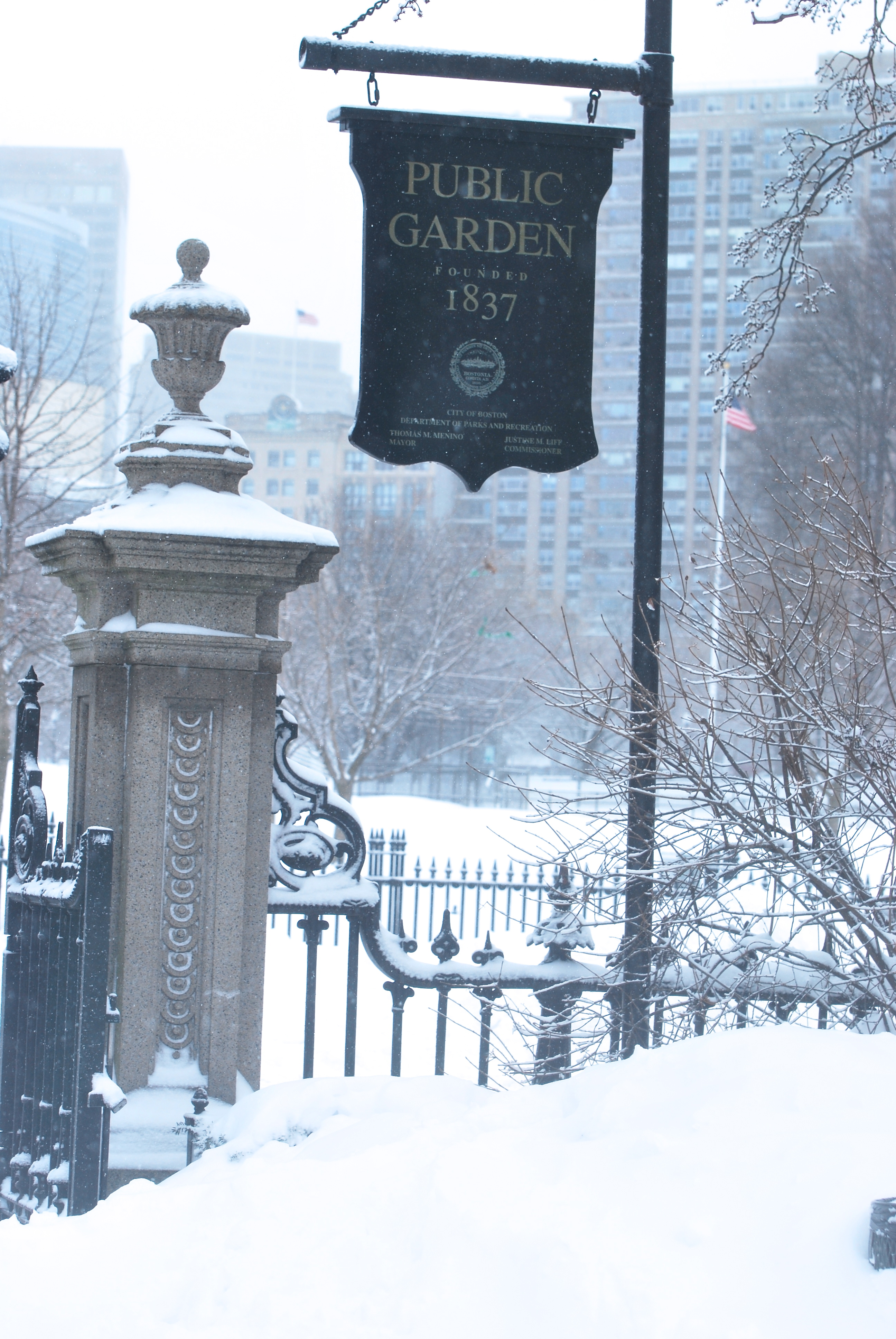 Gate to Boston Public Garden in snow
