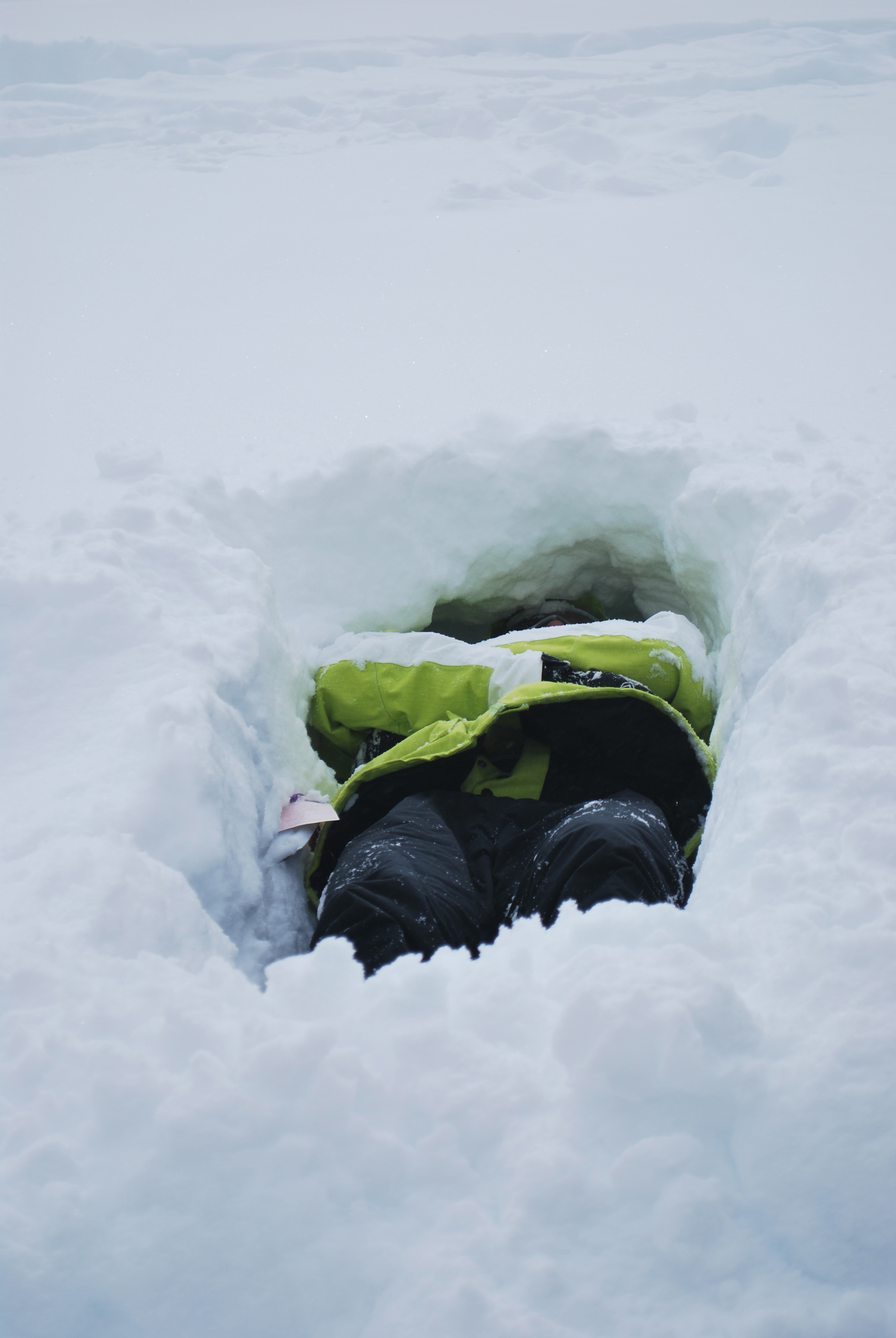 Person laying in snow