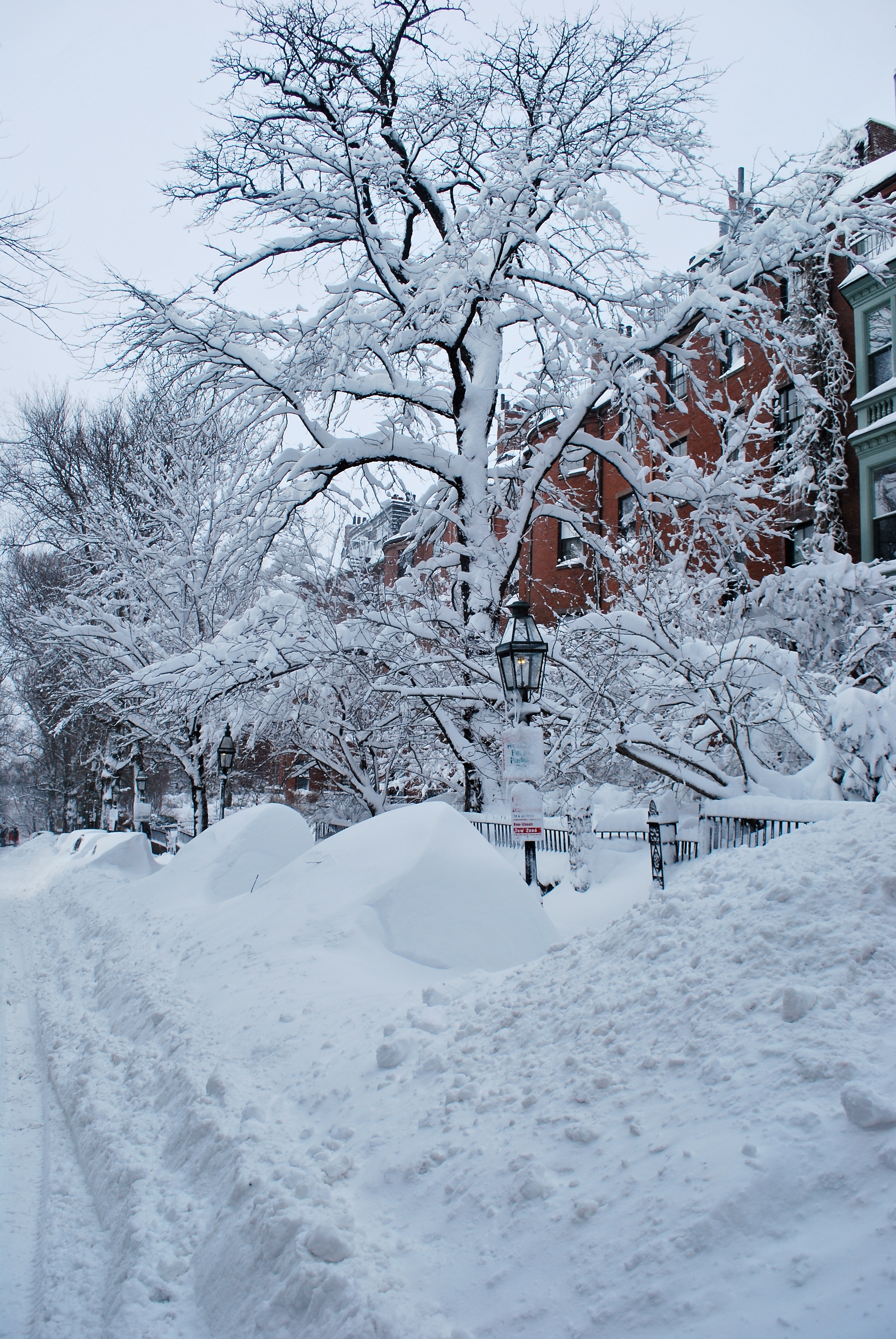 Snow covered street on Beacon Hill in Boston