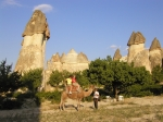 Riding a camel in Cappadocia, Turkey