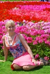 Blonde woman in Dubai Miracle Garden