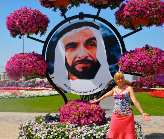 Sheik Zayed bin Sultan Al Nahyan. picture in the Dubai Miracle Garden.