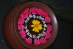 Flower petals in bowl in Bali