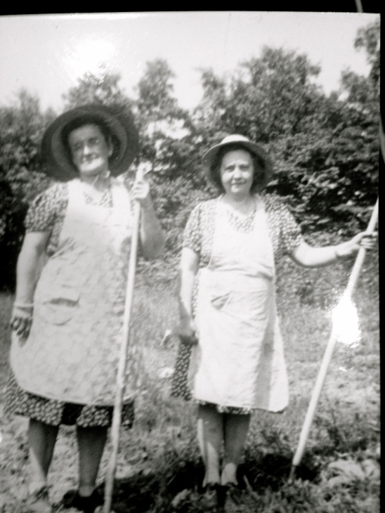 Two older women standing in a field in Pennsylvania