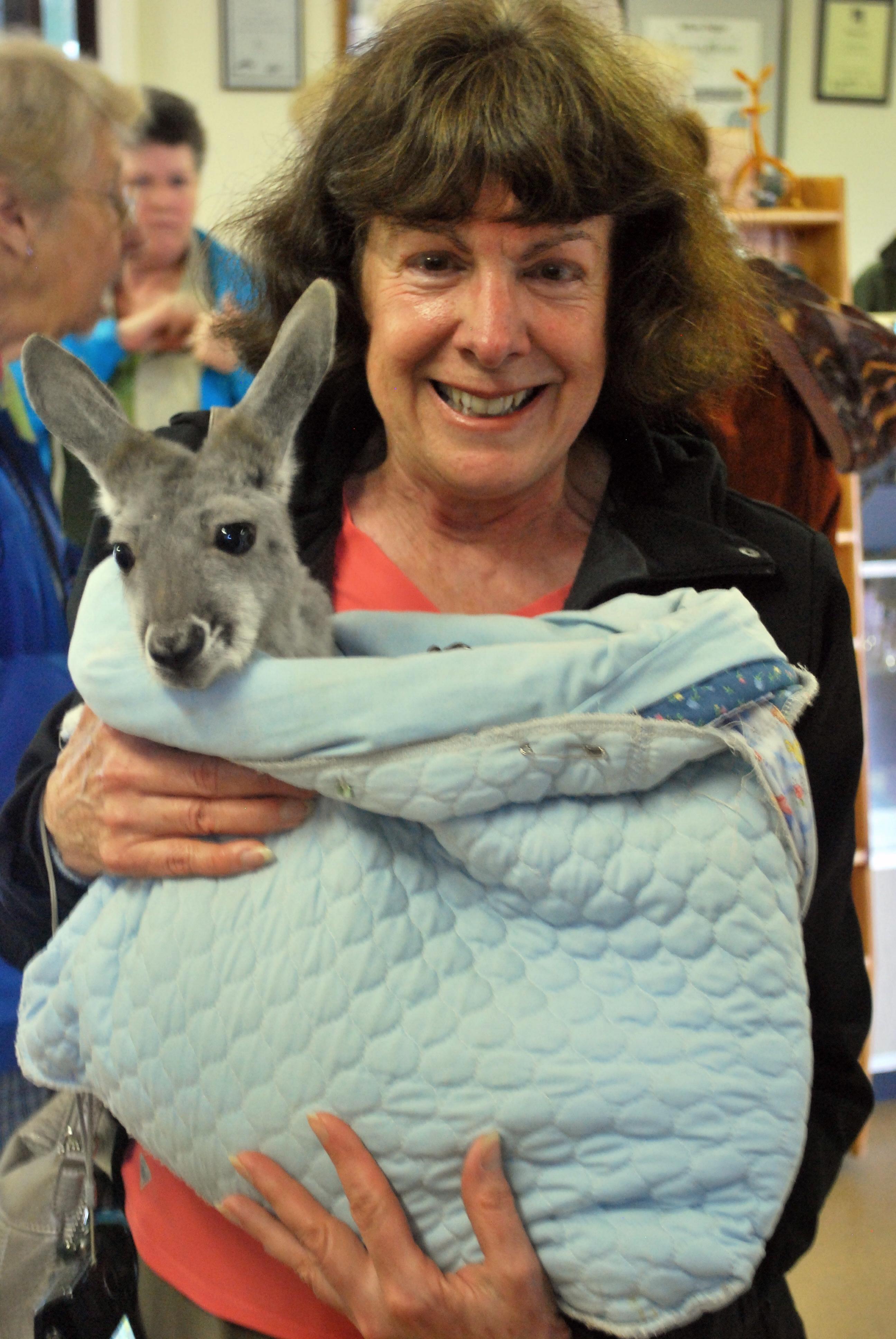 Woman holding baby kangaroo on Kangaroo Island Australia