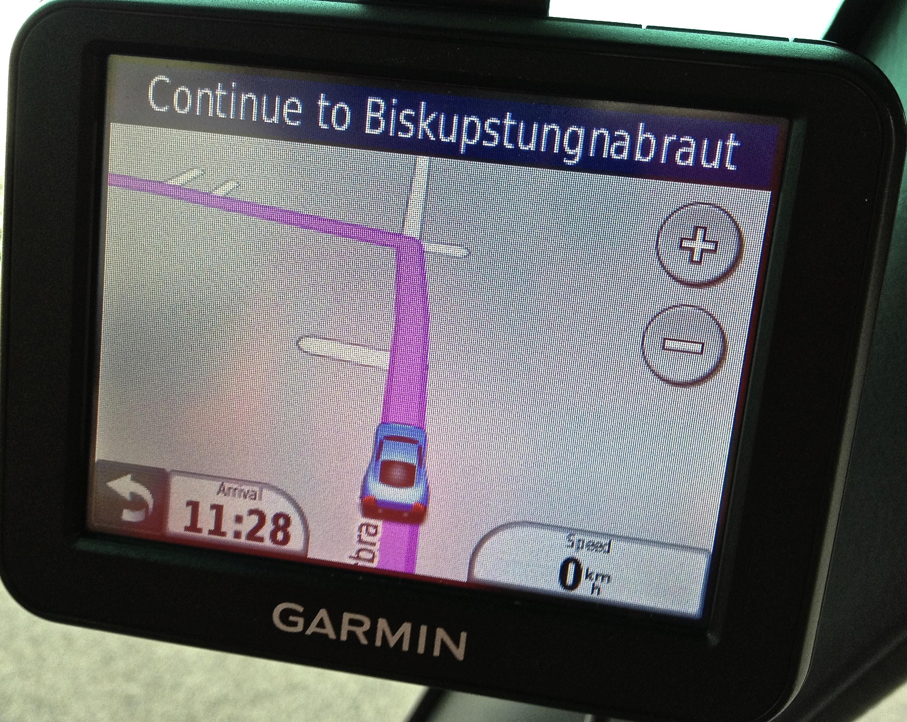 Icelandic town name displayed on Garmin GPS