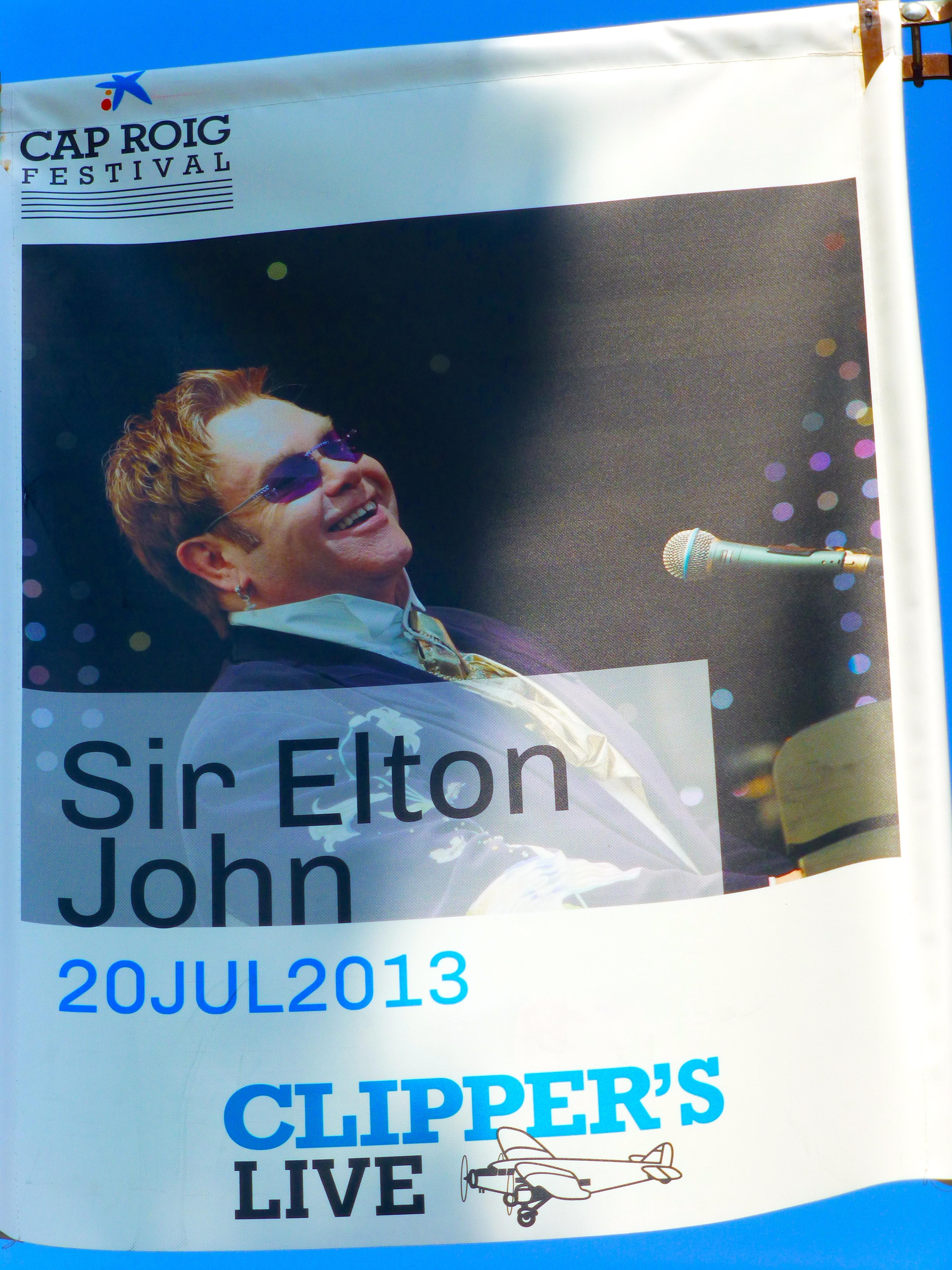 Poster for Elton John appearing at Cap Roig Festival in Spain