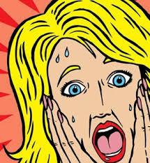 Sketch of blonde woman screaming in terror