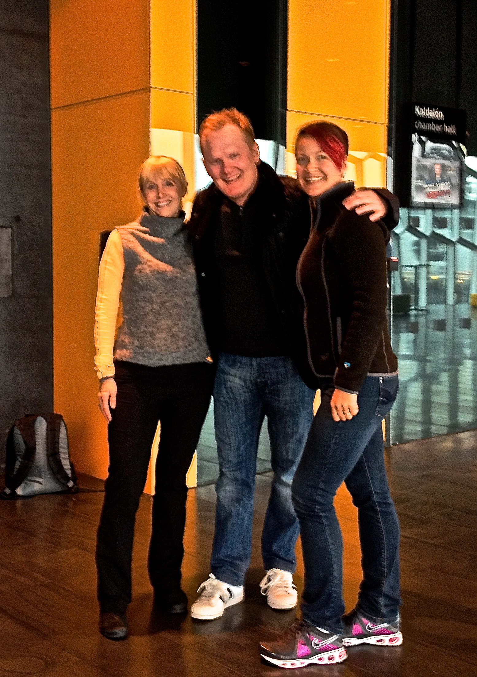 Bjarni Haukur Thorsson at the Harpa Theater with two fans