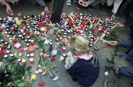 Wenceslas Square in Prague in September of 2001 with memorial to victims of World Trade Center attacks