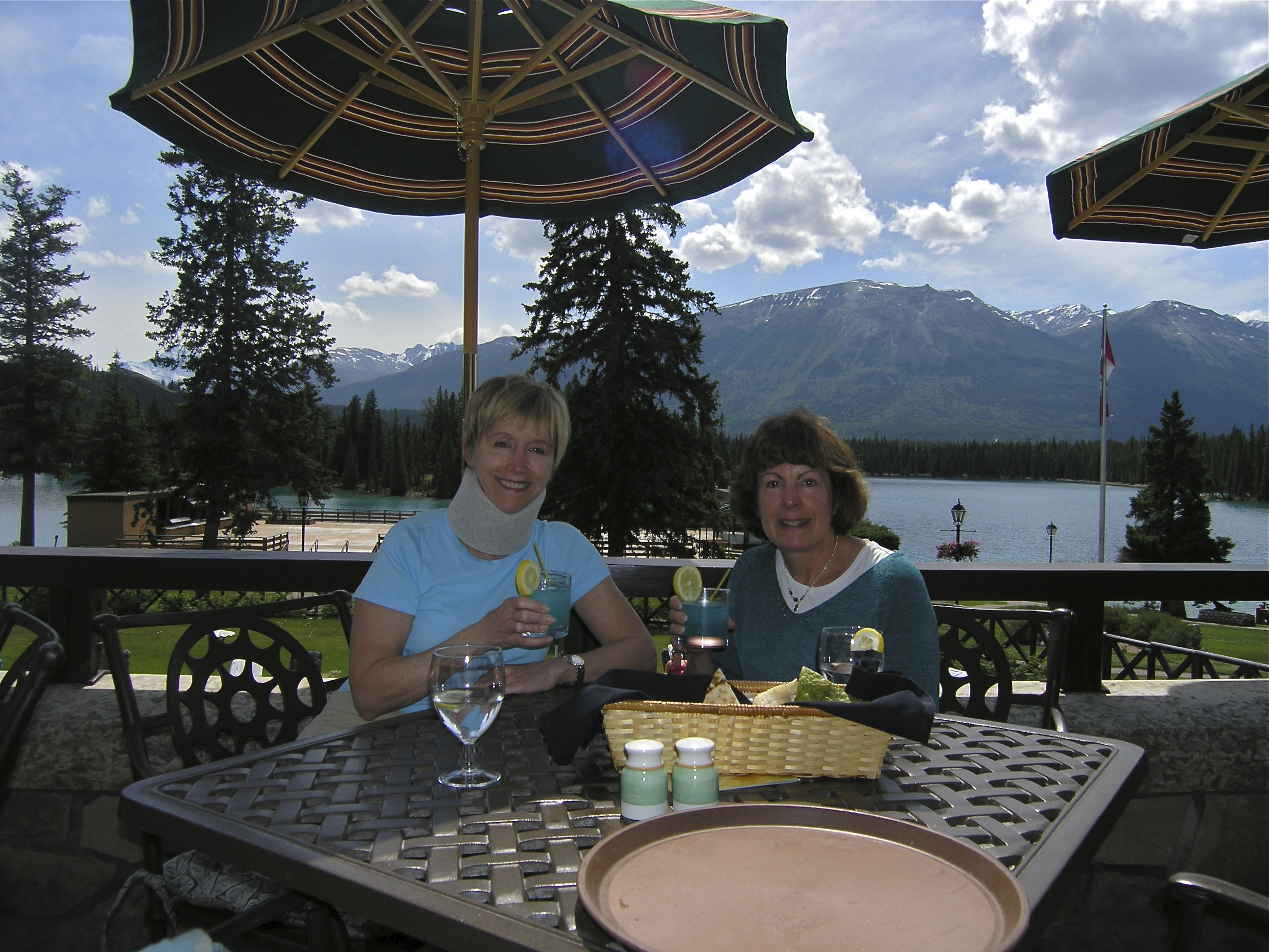 Two women at a picnic table at Jasper Lake