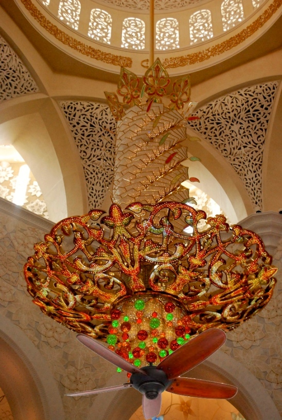 Southwest Florida style mosque chandelier with ceiling fan on it