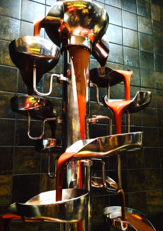 Chocolate fountain at Four Seasons in Doha, Qatar