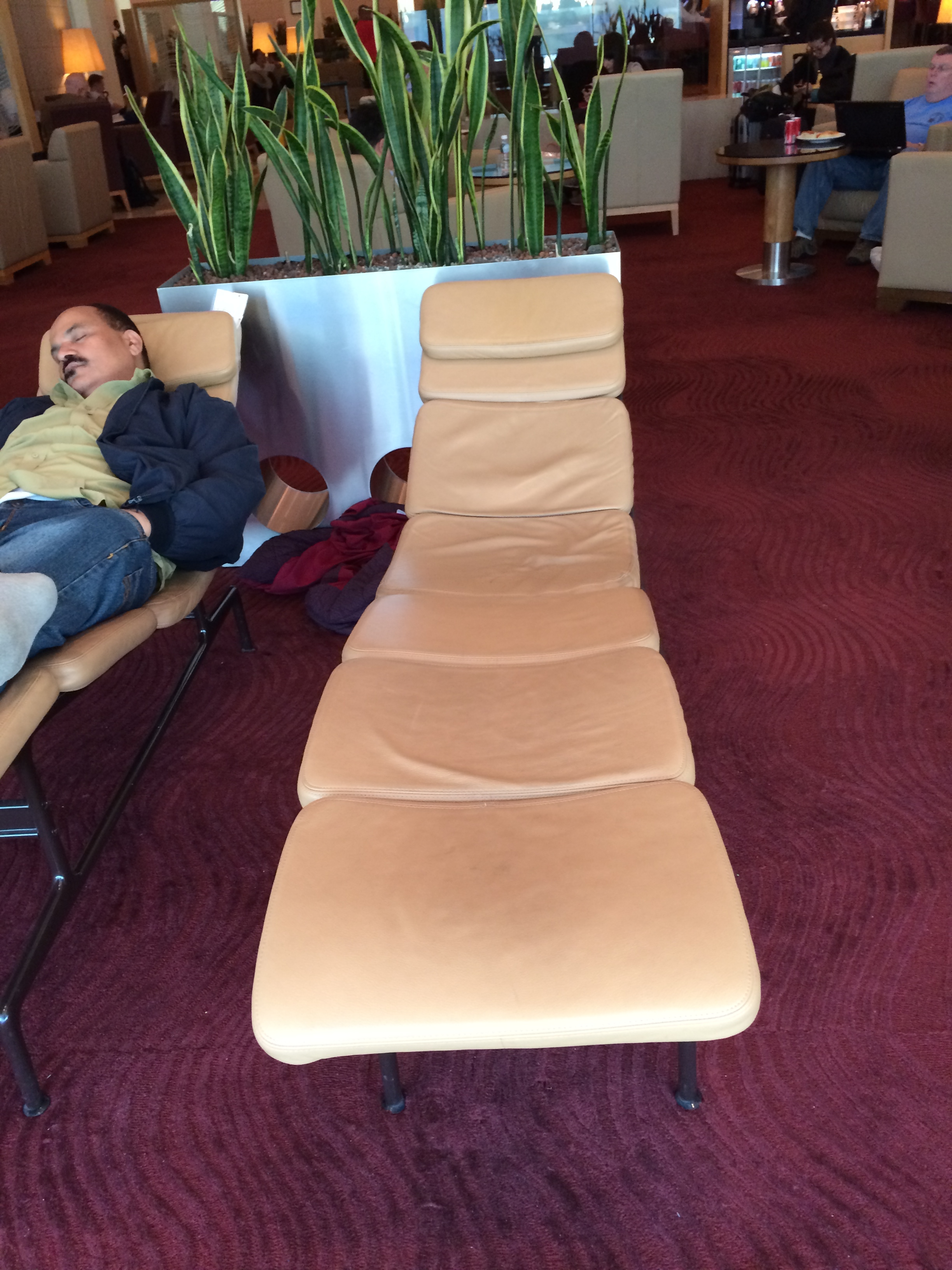 Lounge chairs you could sleep on in the Premium Lounge of Qatar Airways in Doha. Qatar