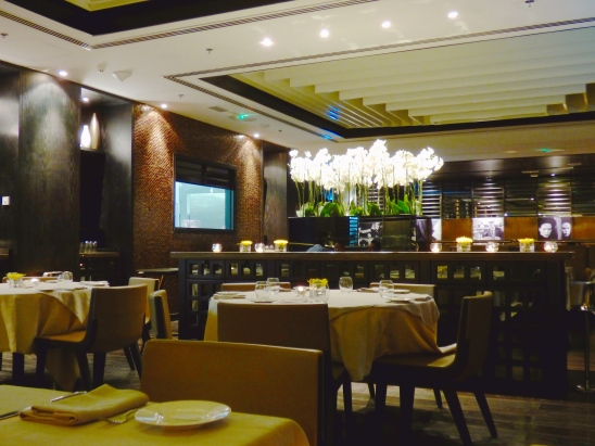 Interior of Paper Moon restaurant in Doha, Qatar