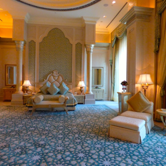 Master bedroom in a suite at the Emirates Palace, Abu Dhabi