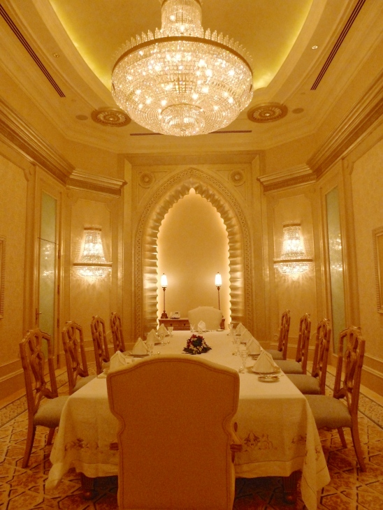 Dining room in suite at Emirates Palace, Abu Dhabi