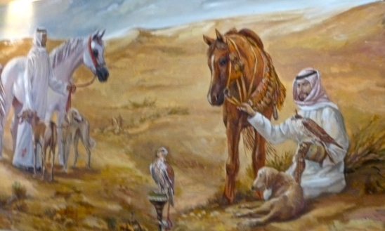 Painting of Bedouin and animals
