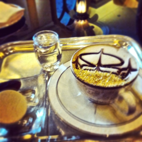 cappuccino with gold dust in Emirates Palace, Abu Dhabi