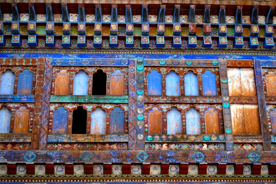 Windows at the Wangdichholing Dzong