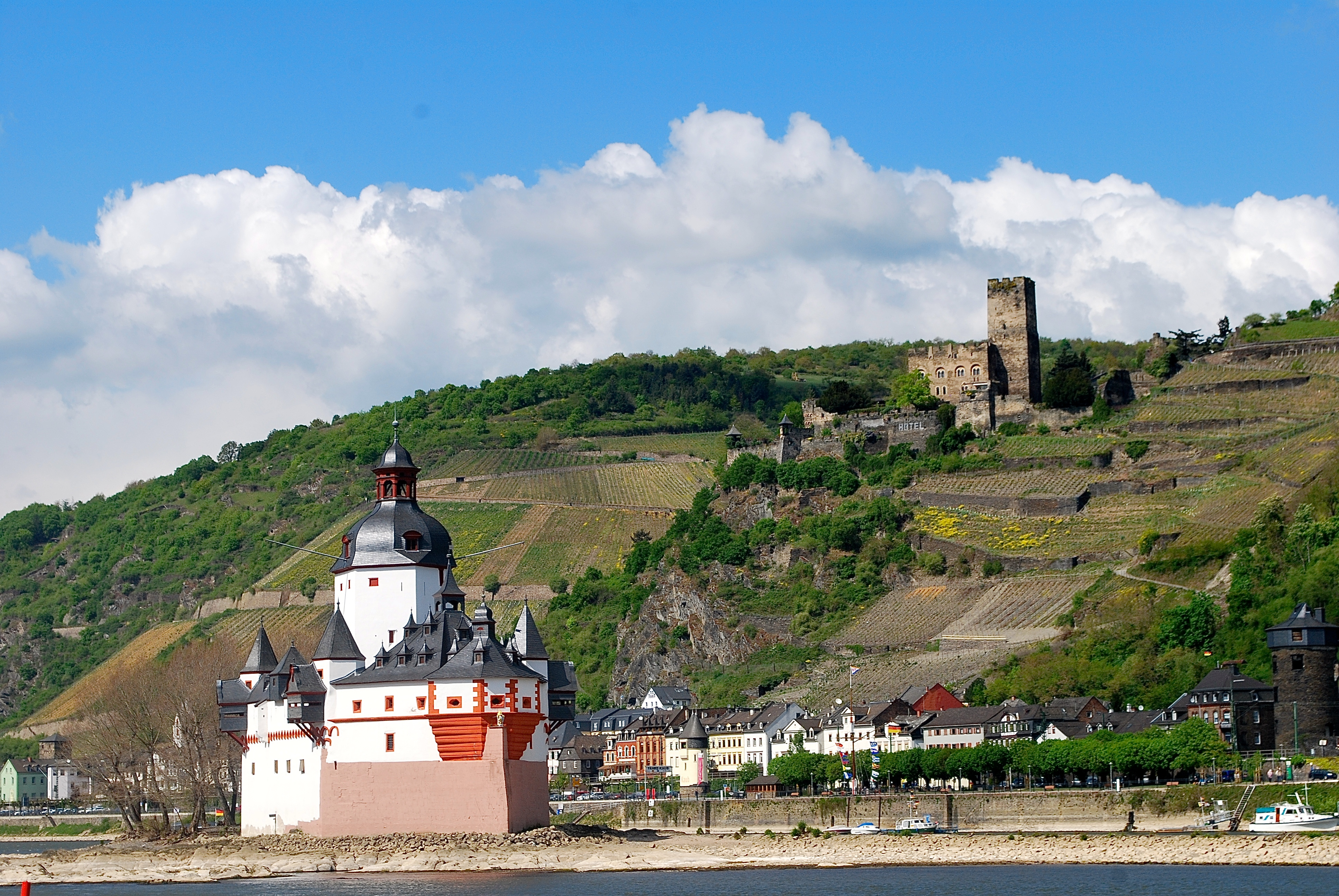 The Pfalz with Burg Gutenfels castle in the background