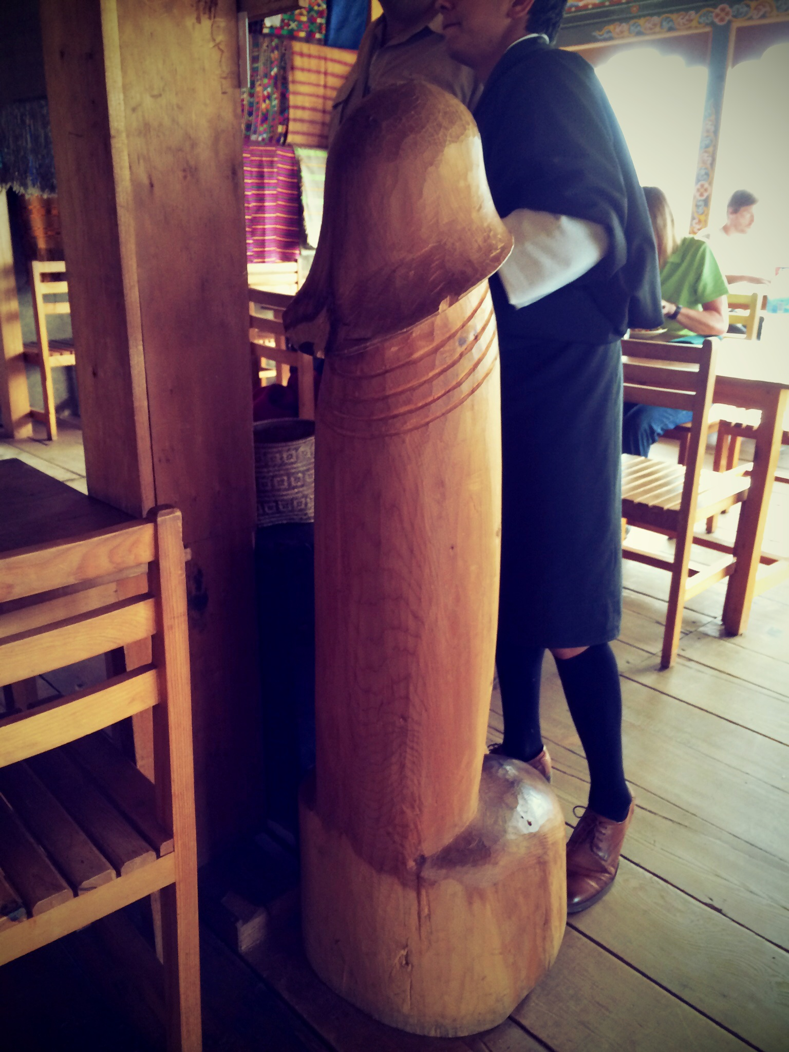 Large penis statue in restaurant in Bhutan