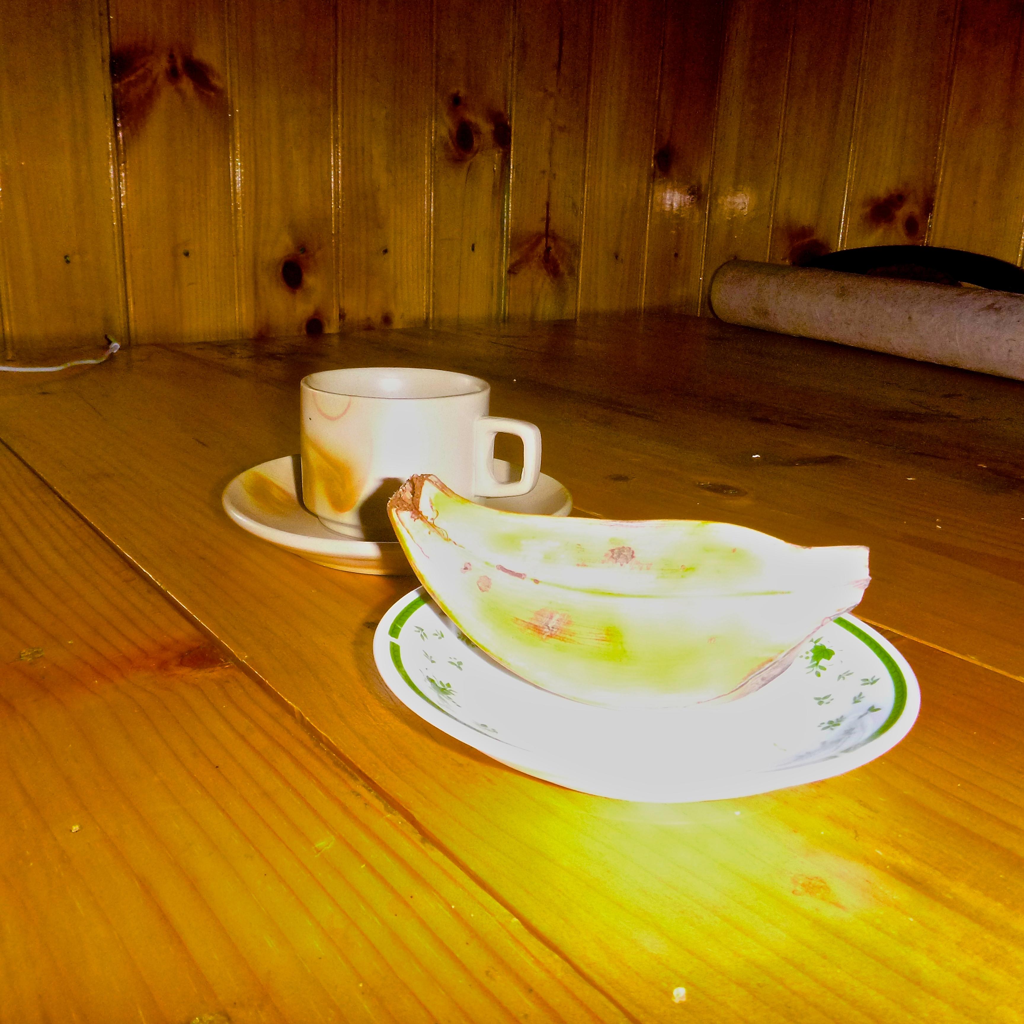 Cup of tea and organic banana in Bhutan
