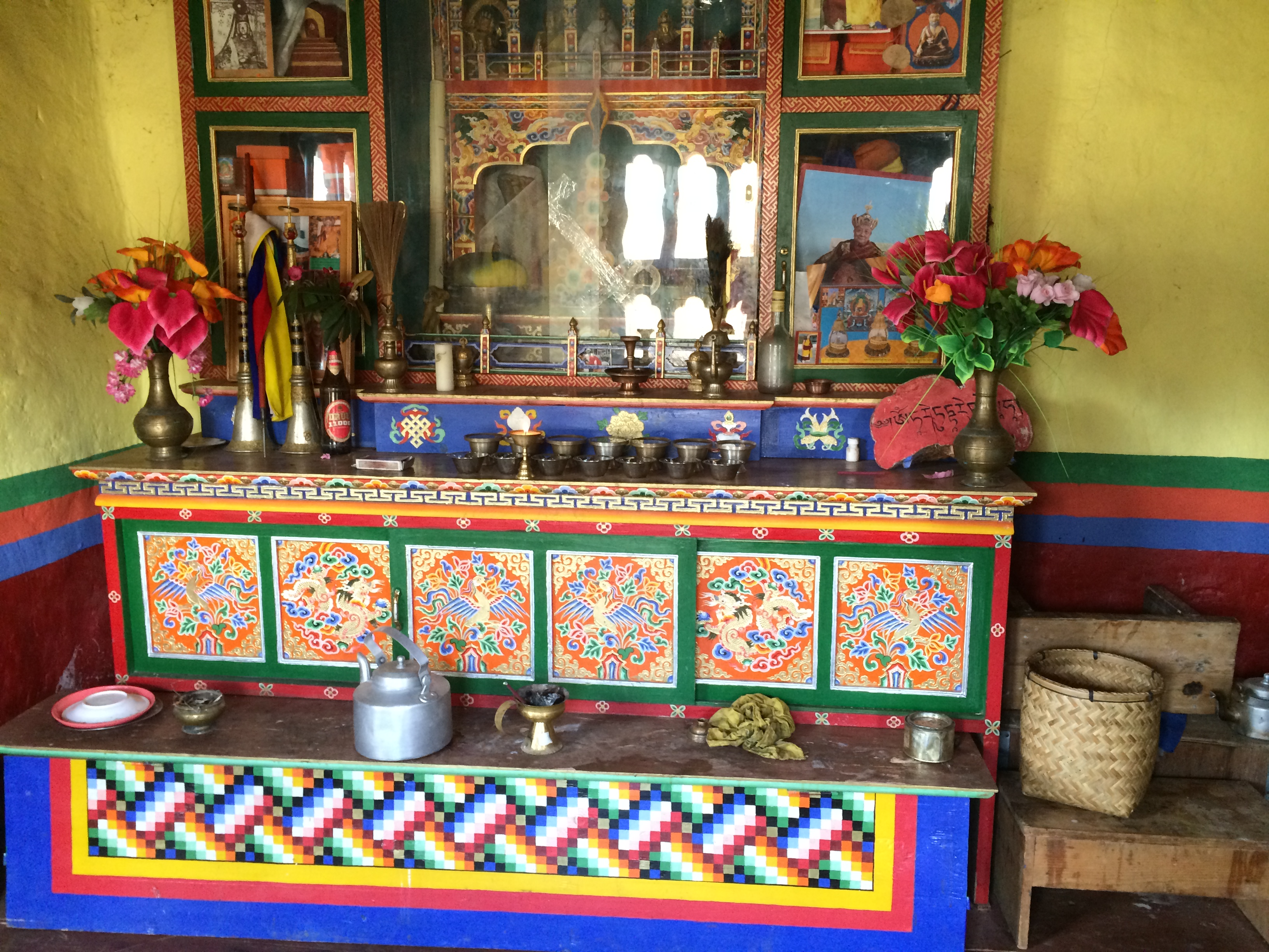 Shrine room in home in Bhutan